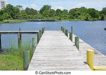 Boat Dock - A wooden boat dock ready for use on a warm...
