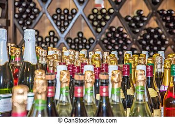 Bottle of champagne wine abstraction backdrop