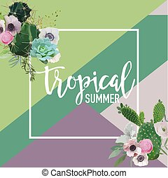 Tropical Flowers and Cactus Summer Banner, Graphic...