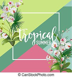 Tropical Orchid Flowers Summer Banner, Graphic Background,...