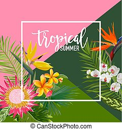 Tropical Flowers Summer Banner, Graphic Background, Exotic...