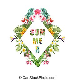 Tropical Flowers and Palms Summer Banner, Graphic...