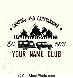 Camper and caravaning club. Vector illustration. Concept for...