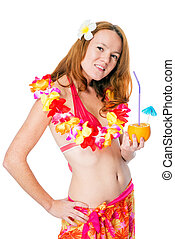 Woman in studio posing in traditional Hawaiian image on...