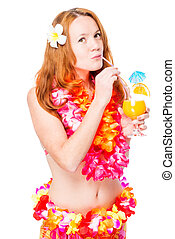 beautiful woman on a white background wearing a Hawaiian...