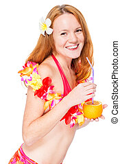 Happy beautiful woman in floral lei and bikini with cocktail
