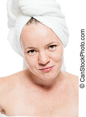 Beautiful 30 year old woman portrait after shower on white background