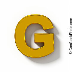 letter G 3D golden isolated on white with shadow - orthogonal projection