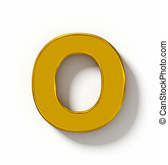 letter O 3D golden isolated on white with shadow - orthogonal projection