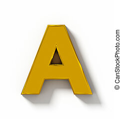 letter A 3D golden isolated on white with shadow - orthogonal projection