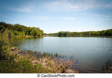White lake. Ukraine. Spring .Region of Kharkov. - View of...