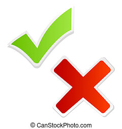 green tick mark and red cross - illustration of green tick...