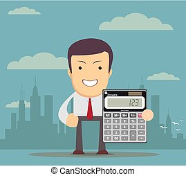 accountant is showing an electronic calculator - Cartoon...