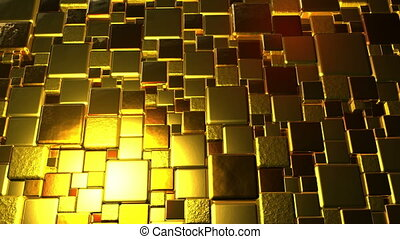 Golden Cubes Background In 4k - Abstract golden cubes...