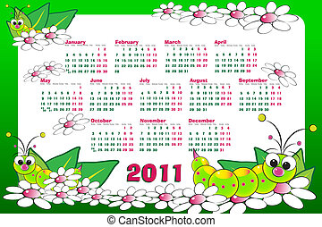 2011 Kid calendar with grubs and flowers