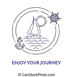 Traveling horizontal banner with sailboat on waves, anchor,...