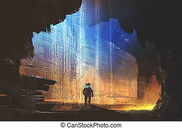 the astronaut looking at pattern on the rock wall - sci-fi...