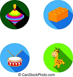 Yula, lego, drum, giraffe.Toys set collection icons in flat...