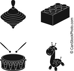 Yula, lego, drum, giraffe.Toys set collection icons in black...