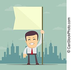 businessman holding white flag. Place for text