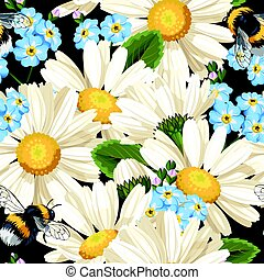 Camomile seamless pattern - High detailed white camomile...