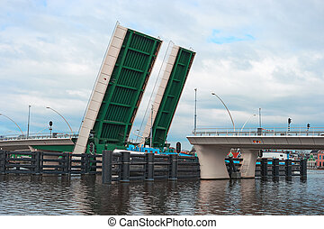 Open drawbridge and ship Zaanse Schans Netherlands - Open...
