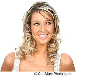 woman - Beautiful young woman smiling. Isolated over white...