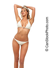 Sexy woman - Sexy blonde woman Isolated over white...
