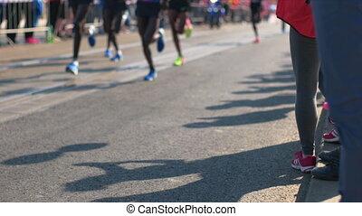 Half Marathon Race, Prague - Front runners leading in half...