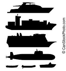 Ships and boats black silhouettes