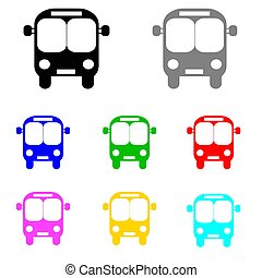 bus vector set in multiple colors on white background