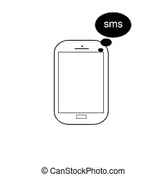 mobile phone vector with sms - message icon