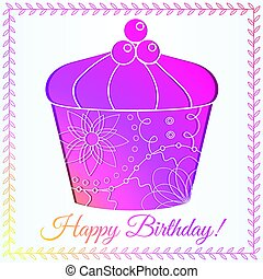 Happy birthday card with cupcake gradient