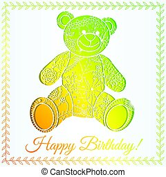 Happy birthday card with bear gradient