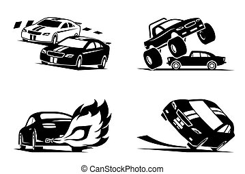 Racing cars show - vector illustration