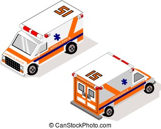 Isometric ambulance emergency vehicle
