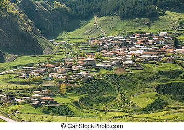 Stepantsminda Village In Kazbegi District, Mtskheta-Mtianeti...