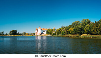 antiguo, Belarus, panorámico, Complejo, monumento, castillo,...