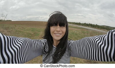 Woman having fun in field