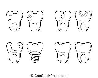 Icons of tooth treatment, reconstruction - Icons of tooth...