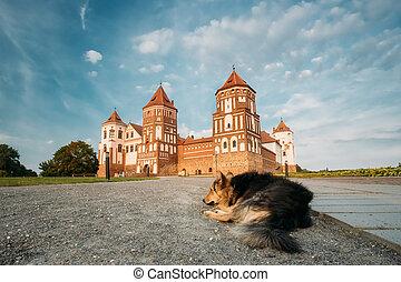 mir, azul, soleado, Belarus, cielo, Plano de fondo,...