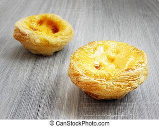 Egg custard tart crisps dessert on dark wood background