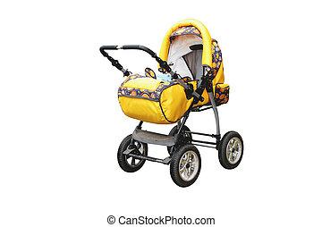 yellow perambulator - The image of yellow perambulator under...