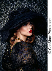 stunning enigmatic woman - Fashion shot of a stunning young...