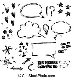 Vector collection of hand drawn sketchy elements. Speech...