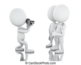 3d White people taking a picture with camera