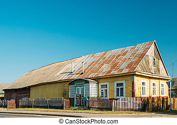 Old Russian Traditional Wooden House In Village Of Belarus...