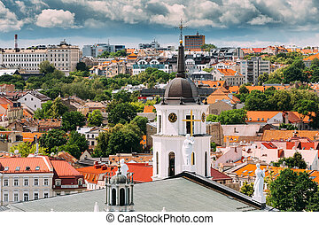 Vilnius, Lithuania. Bell Tower Near Cathedral Basilica Of...