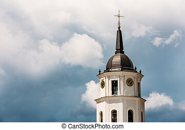 Vilnius, Lithuania. Close Up View Of Bell Tower Of Cathedral...