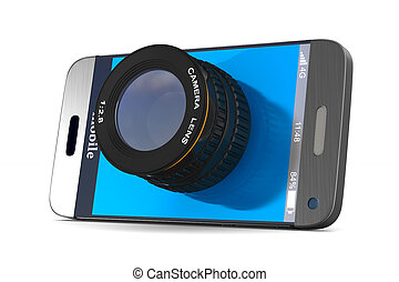 phone with lens on white background. Isolated 3D...